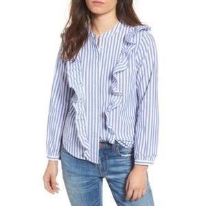 MADEWELL Whitney Striped Ruffle Button Down Shirt